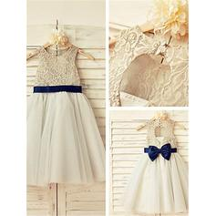 Scoop Neck A-Line/Princess Flower Girl Dresses Sash/Bow(s) Sleeveless Tea-length