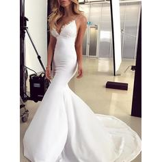 Princess Sweep Train Trumpet/Mermaid Wedding Dresses V-neck Jersey Sleeveless