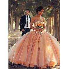 Organza Sleeveless Ball-Gown Prom Dresses Strapless Beading Floor-Length