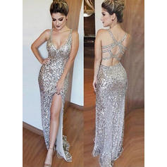 Sheath/Column Floor-Length Evening Dresses V-neck Sequined Sleeveless