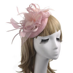 Linen With Feather/Silk Flower/Tulle Fascinators Classic/Elegant/Vintage Ladies' Hats