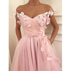 Tulle Sleeveless A-Line/Princess Prom Dresses Off-the-Shoulder Beading Appliques Lace Bow(s) Floor-Length
