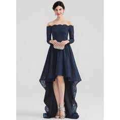 A-Line Off-the-Shoulder Asymmetrical Lace Evening Dress