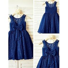 A-Line/Princess Scoop Neck Tea-length With Bow(s) Lace Flower Girl Dresses