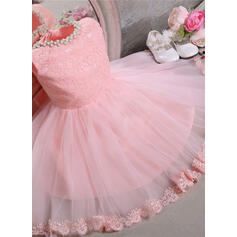 De baile Coquetel Vestidos de Menina das Flores - Tule/Renda Sem magas Decote redondo com Beading/Curvado (010092078)