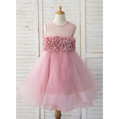 De Baile/Princesa Coquetel Vestidos de Menina das Flores - Tule Sem magas Decote redondo (010164709)