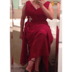 Vestidos princesa/ Formato A Decote V Tecido de seda Princesa Vestidos para a mãe da noiva (008212731)