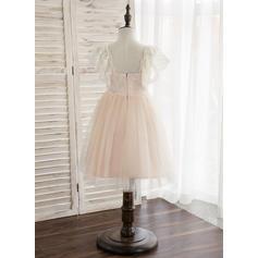 Forme Princesse Longueur genou Robes à Fleurs pour Filles - Tulle/Dentelle Sans manches Bretelles avec Brodé (010148828)