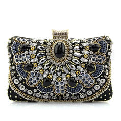 Clutches/Fashion Handbags Wedding/Casual & Shopping Satin/Crystal/ Rhinestone Clip Closure Fashional Clutches & Evening Bags