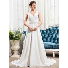 Sexy Court Train A-Line/Princess Wedding Dresses Sweetheart Chiffon Sleeveless