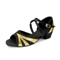 Kids' Latin Heels Sandals Satin Sparkling Glitter With Ankle Strap Dance Shoes