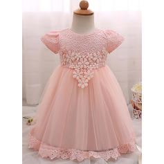 A-Line/Princess Scoop Neck Floor-length Tulle Christening Gowns With Flower(s) (2001218004)