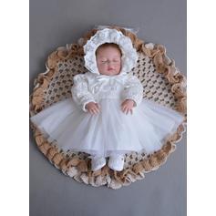 Tulle Dentelle Col claudine Robes de baptême bébé fille avec Manches longues (2001216778)