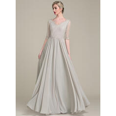 A-Line/Princess V-neck Floor-Length Chiffon Lace Mother of the Bride Dress (008102685)