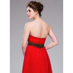 Forme Princesse Longueur mollet Robes de soirée étudiante Sans bretelle Tulle Sans manches (022214005)