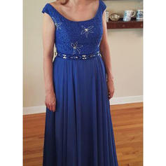 A-Line/Princess Chiffon Scoop Neck Floor-Length Zipper Up Mother of the Bride Dresses