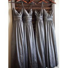 V-neck A-Line/Princess Taffeta Sleeveless Bridesmaid Dresses (007145027)