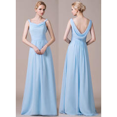 A-Line/Princess Cowl Neck Floor-Length Chiffon Bridesmaid Dress With Ruffle (007059428)