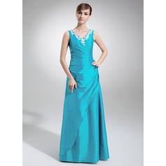 A-Line/Princess Taffeta Bridesmaid Dresses Ruffle Appliques Lace V-neck Sleeveless Floor-Length (007002103)