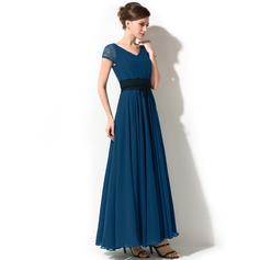 976227e616c A-Line Princess Chiffon Short Sleeves V-neck Ankle-Length Zipper Up ...