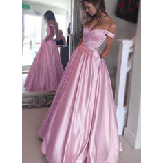 A-Line/Princess Off-the-Shoulder Satin Sleeveless Floor-Length Beading Evening Dresses