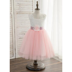 Forme Princesse Longueur genou Robes à Fleurs pour Filles - Tulle/Dentelle Sans manches Col rond avec Ceintures