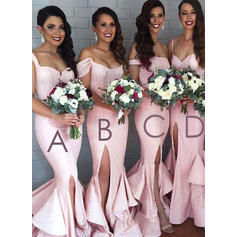 Sequined Sleeveless Trumpet/Mermaid Bridesmaid Dresses Sweetheart Off-the-Shoulder Split Front Sweep Train