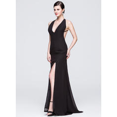 Elegant V-neck Sheath/Column Chiffon Evening Dresses (017014068)