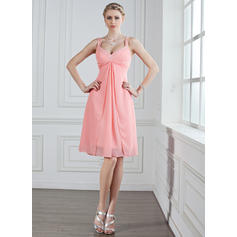 A-Line/Princess Sweetheart Knee-Length Bridesmaid Dresses With Ruffle Beading