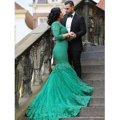 Trumpet/Mermaid Tulle Prom Dresses Appliques Lace V-neck 3/4 Sleeves Sweep Train (018210370)