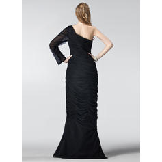 short sleeve long evening dresses