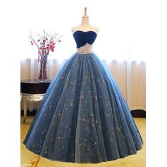 Tulle Princess Ball-Gown Floor-Length Prom Dresses