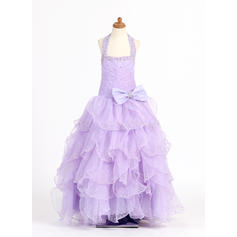 Flattering Floor-length Ball Gown Flower Girl Dresses Scoop Neck Organza/Charmeuse Sleeveless
