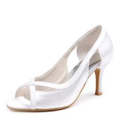 Women's Peep Toe Sandals Stiletto Heel Silk Like Satin Wedding Shoes
