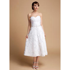 A-Line/Princess Sweetheart Tea-Length Wedding Dresses With Ruffle Beading Flower(s) Sequins