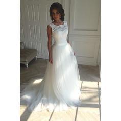A-Line/Princess Tulle Sleeveless Square Court Train Wedding Dresses