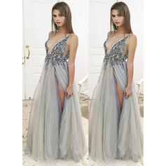 A-Line/Princess Tulle Prom Dresses Beading Sequins Split Front V-neck Sleeveless Floor-Length