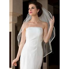 Fingertip Bridal Veils Tulle Two-tier Oval With Ribbon Edge Wedding Veils