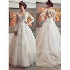 Ball-Gown Scoop Court Train Chapel Train Wedding Dresses