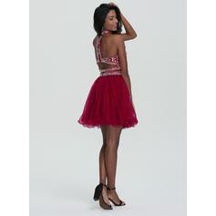 Brodé Paillettes Forme Princesse Court/Mini Tulle Robes de soirée étudiante (022214163)