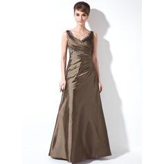 A-Line/Princess Taffeta Sleeveless V-neck Floor-Length Zipper Up at Side Mother of the Bride Dresses (008213082)