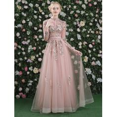 A-Line/Princess High Neck Floor-Length Evening Dress With Embroidered