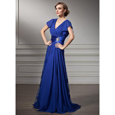 Beading Cascading Ruffles V-neck Fashion Chiffon Lace Mother of the Bride Dresses