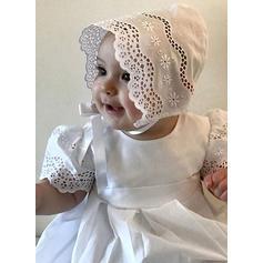 Satiné Col rond Dentelle Robes de baptême bébé fille avec Manches courtes (2001216809)