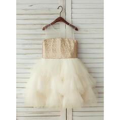 Vestidos princesa/ Formato A Coquetel Vestidos de Menina das Flores - Tule/Lantejoulas Sem magas Decote redondo com lantejoulas