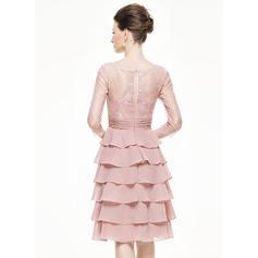 Corte A/Princesa Escote redondo Hasta la rodilla Gasa Encaje Vestido de madrina con Flores Cascada de volantes (008062547)