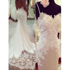 Court Train Trumpet/Mermaid Glamorous Charmeuse Wedding Dresses
