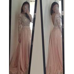 Flattering Tulle Evening Dresses A-Line/Princess Sweep Train Scoop Neck Long Sleeves (017216524)