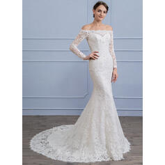 Trumpet/Mermaid Off-the-Shoulder Court Train Lace Wedding Dress With Beading Sequins (002106066)