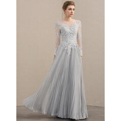 A-Line/Princess Scoop Neck Floor-Length Chiffon Lace Mother of the Bride Dress With Beading Sequins Pleated